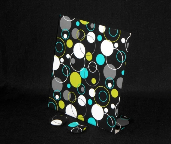 """Magnetic Board - SALE Michael Miller Lagoon Fabric - Magnetic Organizer or Photo Board - 11"""" x 12"""" Freestanding"""