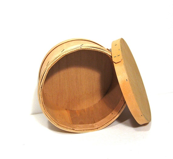 Round wood box vintage bentwood storage container natural for Circular wooden box