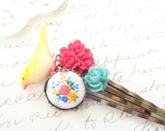 Garden Flower Hair Pin Set - Bobby Pin - Bird - Wedding - Bridal - Bridesmaid