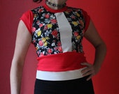 Womens Tshirt, small, red, floral,
