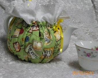 Teapot Cozy in Green Yellows ETC. with Tea Names Tags and Tea Bags