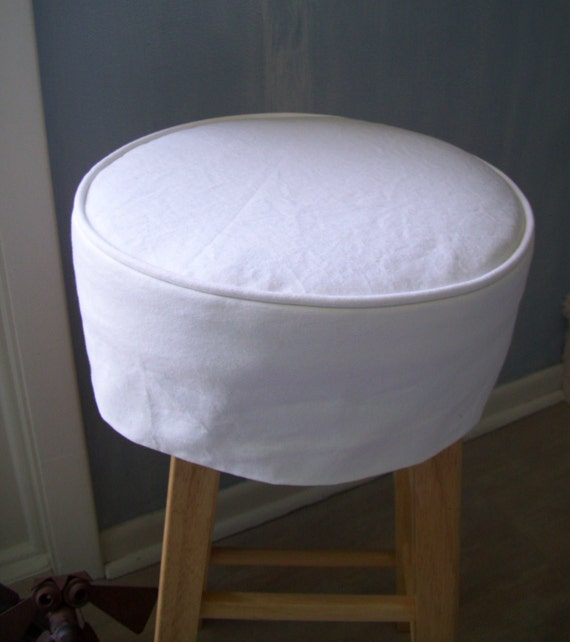 Bar Stool Covers With Cushion White Canvas Washable Slipcover