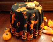 1/12 Scale (Dollhouse) Halloween Cloth Covered Table in Orange and Black with Flying Witches - Indoor Fairy Garden