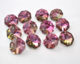 12 Iridescent Pink Honey 14mm Crystal Jewelry 2 Hole Connectors(S-PB)