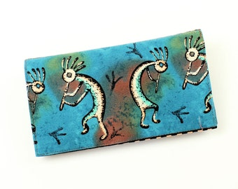 Teal Kokopelli Checkbook Cover for Duplicate Checks with Pen Holder on Cotton Fabric - Great Gift for a Guy, Southwest