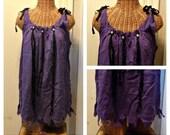 Purple Voodoo Doll Tunic XS, S, M, L, 1X thru 4X with Skulls Black Ribbon Zombie Headhunter Womens Custom Order Halloween Costume Beaded