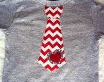 Boys Valentine Tie Shirt-  Boys Valentine Shirt -Toddler Valentines Day Shirt- Chevron and Polka Dots on a Heather Grey Shirt