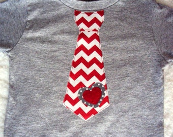 Boys Valentine Tie Shirt-  Boys Valentine Shirt -Toddler Valentines Day Shirt- Chevron and Polka Dots on a Heather Grey Shirt