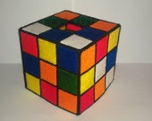 Handmade Rubik Cube Tissue Box Cover Plastic Canvas