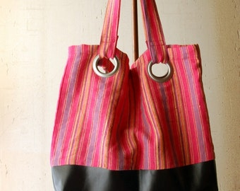 Lined Fabric Tote - Pink Linen Stripes - Black Faux Leather - Stylish Tote - Beach Bag
