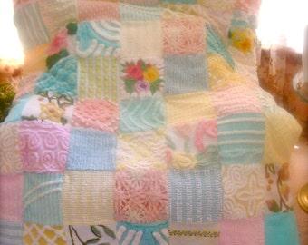 CUSTOM QUILT SAMPLE ~ Pastel Garden Handmade Vintage Chenille Custom Quilted Throw Coverlet