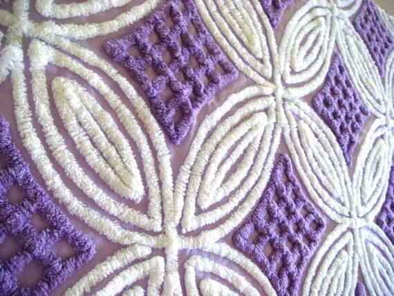 Purple and White Plush Vintage Chenille Bedspread Cotton Fabric 30x18