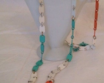 Vintage Turquoise White and Orange Necklace Delicate Chain Summer Beach Moroccan Vintage Jewelry at A Vintage Revolution