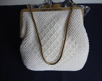 Vintage White Plastic Beaded  Clutch Evening Purse Hong Kong