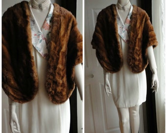 Vintage Medium Brown Mink Fur Stole Capelet Wrap  from 60s Unsigned