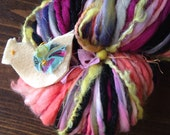"SUMMER SALE Art Yarn 7 oz 111 yd BIG skein handspun messy multicolor peach and purples. ""Tiny animals in ruffled tutus"""
