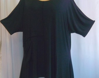 Coco and Juan, Lagenlook, Women's Plus Size Top, Cold Shoulder, Rayon Knit Angled, Plus Size Tunic Top, Black, One Size Bust to 58 inches
