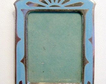 Miniature Photo Frame Brass and Enamel Antique