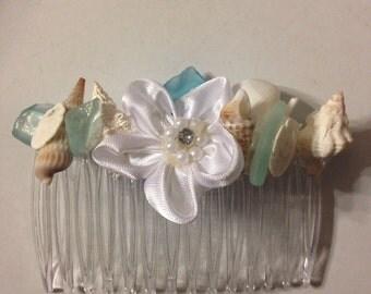 Wedding Seashell  Bride Bridesmaid Sea Shell Hairpiece Comb Blue Green Glass