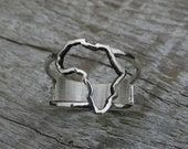 Africa Ring, Continent ring Sterling Silver map of Africa ring, African ring
