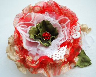 SALE- red green gold organza flower, weddings red hair accessories, jewelry, brooch, bridal red flower, bridesmaids, woodland wedding