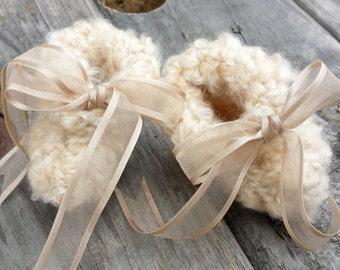 Caramel Fluffy Cloud Booties (size 0-9 months) -- Tan Cappuccino