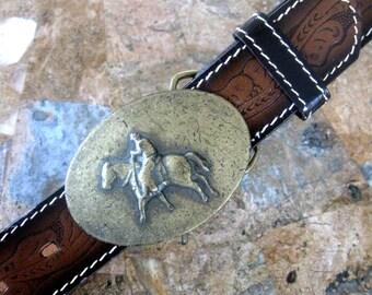 Vintage Western Leather Belt Cowgirl Belt Hand Tooled Brown  Gold Tone Metal Buckle Cowboy Horseback Rockabilly 1980s