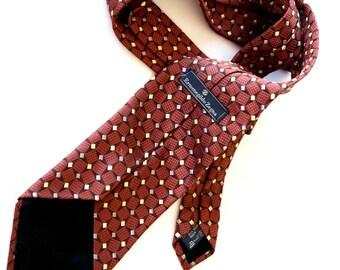 Vintage Zegna Necktie Ermenegildo Zegna Designer Tie Silk Tie Geometric Graphics Chestnut Brown Yellow Gray