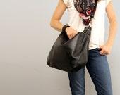 UMA Leather Bag - Leather Hobo Bag - Slouchy Leather Crossbody Bag - Adjustable Strap -Black Leather Bag - Boho Chic