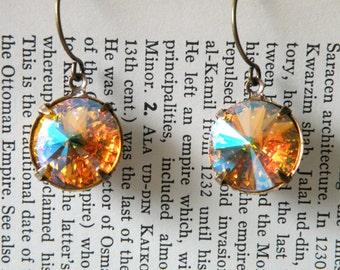 sunflower jewel earrings rhinestone dangle rivoli glacier swarovski