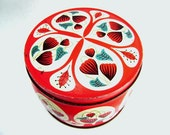 Vintage Tin, Round w/ Lid, Valentine Red, Metal Container, Chippy Rusty Patina, Floral Lady Bug Paisley Design