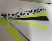 Soccer Pony Tail Holder, Black White and Neon Yellow Soccer Team Ribbon Streamer, Dance Team, Cheerleader, Elastic Hair Bow Soccer Ribbons
