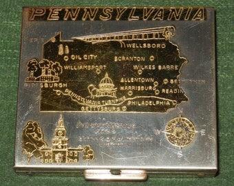 1950s PENNSYLVANIA State Map COMPACT Souvenir