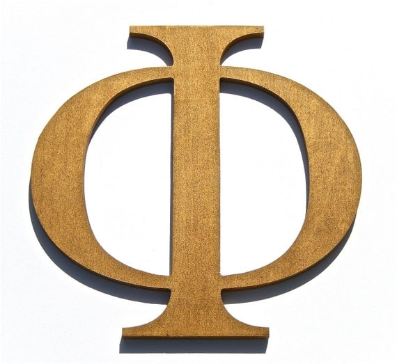 Items similar to wooden greek letters phi metallic gold for Buy wooden greek letters
