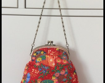 Two compartments handbag/ Evening purse/ Coin purse/ Metal frame/ Chain/ Red flowers fabric/ Pouch/ Floral fabric