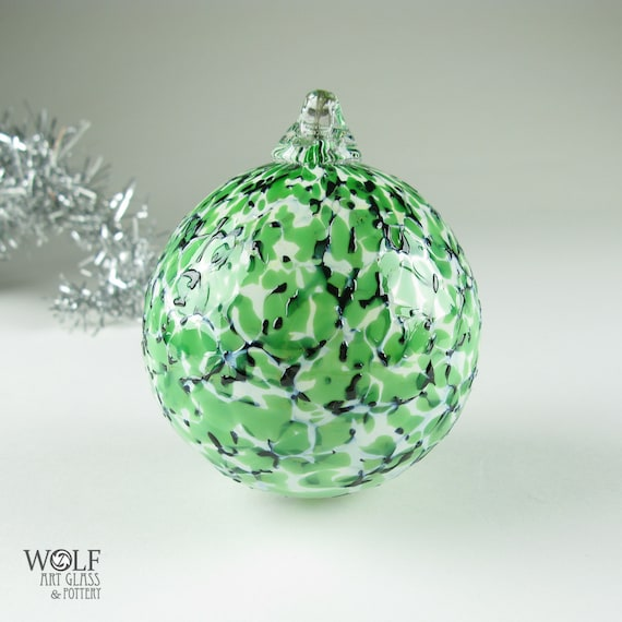 Blown Glass Christmas Tree Ornament Ball Suncatcher Emerald Green White and Black Granite