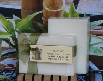 PEACE OUT Vegan Soap,  Bamboo, Floral & Grass, Handmade Scented Soap, Fresh Bamboo