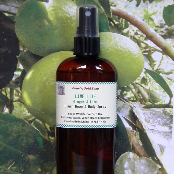 LIME LITE Linen & Room Spray - Nautral Air Freshener - Ginger and Lime Home Spray