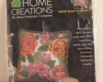 Roses in Bloom Counted Cross Stitch PILLOW Kit