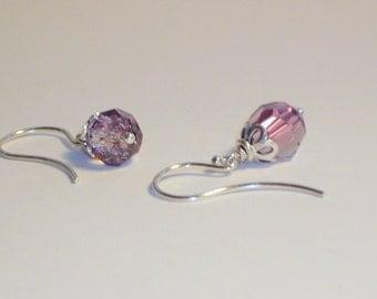 Earrings, Antique Pink Swarovski Crystal Jewelry, Sterling Silver