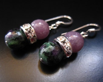 Ruby Zoisite Earrings, Sterling Silver, Faceted Ruby Zoisite, Purple Dyed Jade Crystal Rhinestone, Ruby Zoisite Jewelry, Ruby Zoisite Dangle
