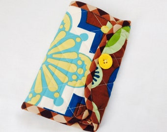 Crochet Hook Case - brown, teal and gold medallion  quilted cotton carrying case, tri fold hook storage