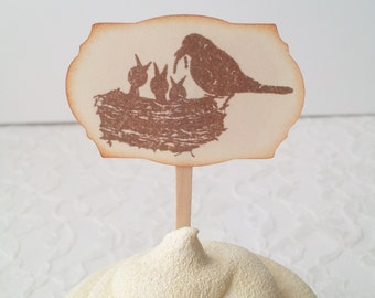Cupcake Toppers Bird Nest Family Baby Shower Gender Reveal Ivory Set of 12