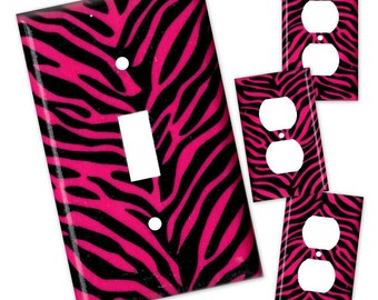 Hot Pink Zebra Print Light Switch Plate/Outlet Covers 4 pc Set - Hot Pink and Black