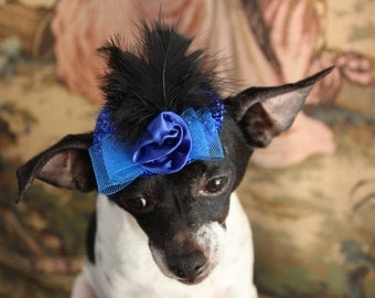 Cute blue  color  mini  hat with   feather and flower  for dog or cat