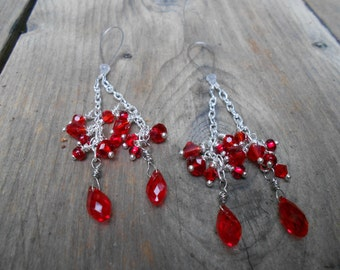 Stripper Tassels-Sexy Lariat Style Nipple Wires- One size fits all-Silver Chains-Red Swarovski Crystals- Mature