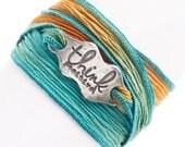 Silk Wrap Bracelet, Think Positive, Inspirational Jewelry, Positive Energy, Handmade in America