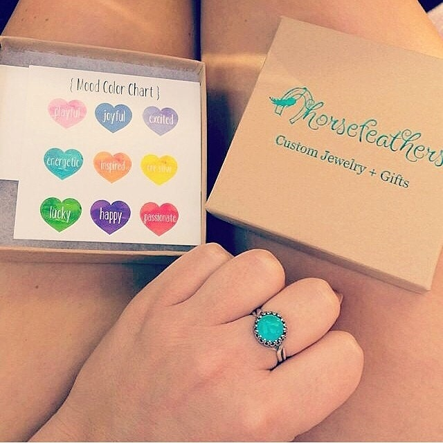 Real Silver Mood Ring/ Mood Jewelry/ Color Changing Mood Stone