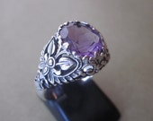 Balinese Sterling Silver Amethyst Ring / silver 925 / size 8.5 ready to ship / Bali Handmade Jewelry / (#36r)