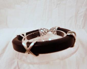Bracelet, 6.5in, 7in, Black, Silver, XXX  4834
